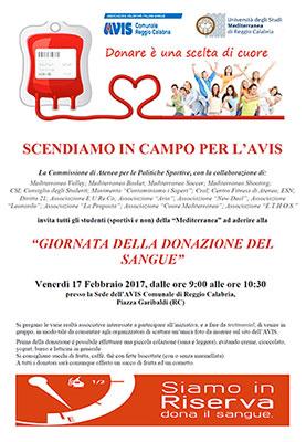 Reggio Calabria, la Mediterranea promuove la giornata di donazione del sangue