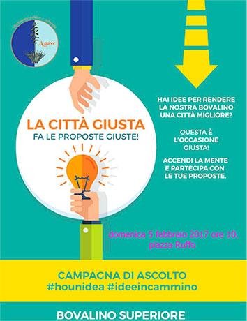 Bovalino (RC): iniziativa di Agave, la città giusta, fa le proposte giuste, accendi la mente e partecipa con le tue proposte