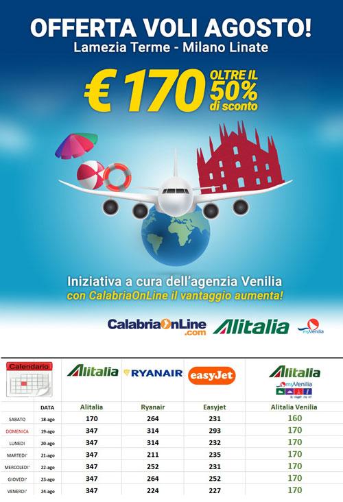 Offerta Voli Agosto: da Lamezia Terme a Milano Linate al prezzo pi� basso del web!