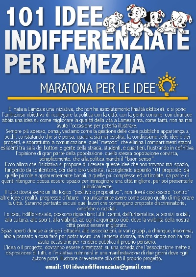 A Lamezia Terme l'iniziativa ''Una maratona per le idee''