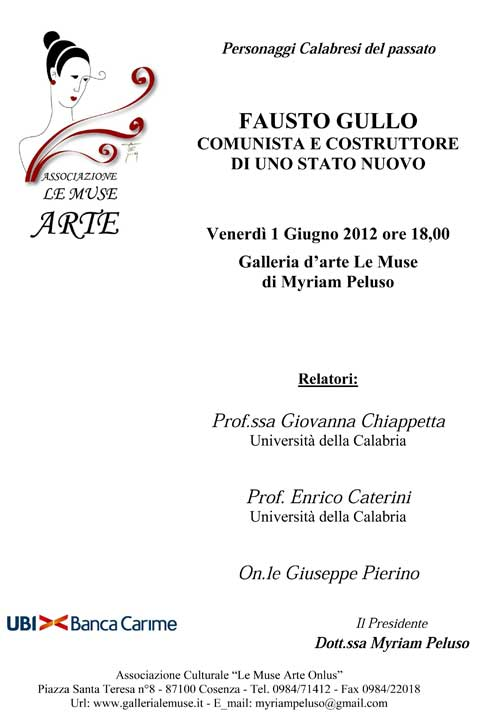Cosenza: alla Galleria d'Arte Le Muse riflessioni su Fausto Gullo, comunista e costruttore di un nuovo stato